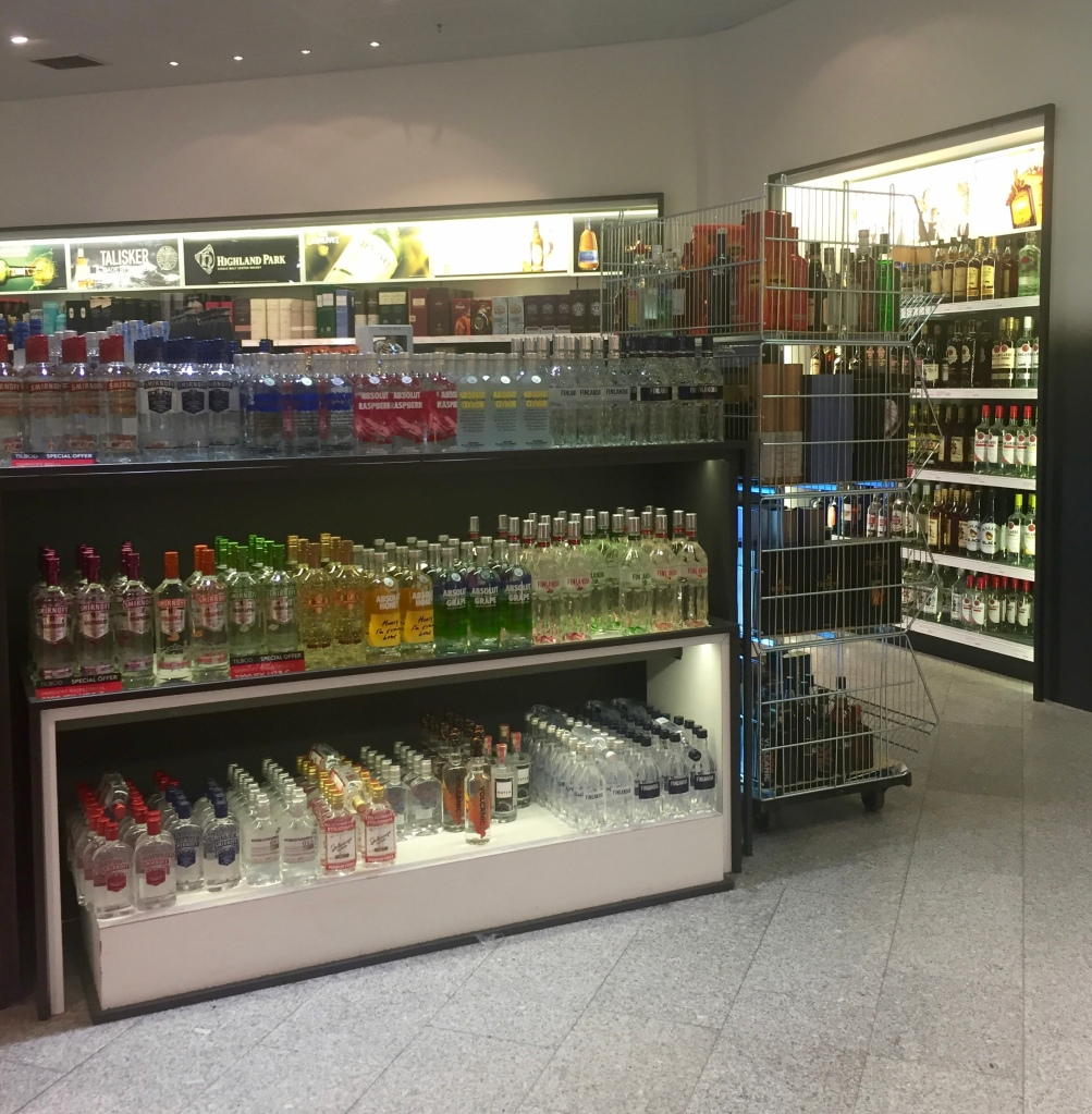 Iceland makes it very convenient to buy your alcohol at the airport. You can't get to baggage claim or customs without going through the Duty Free store. Good set up.