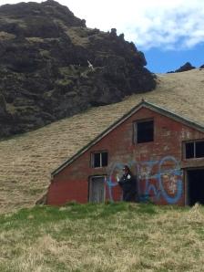abandoned sunken farm house.